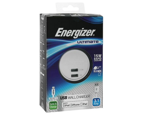 СЗУ + кабель Lightning 3.1А - 2USB, ENERGIZER Ultimate, white (AC2UUNUIP5)